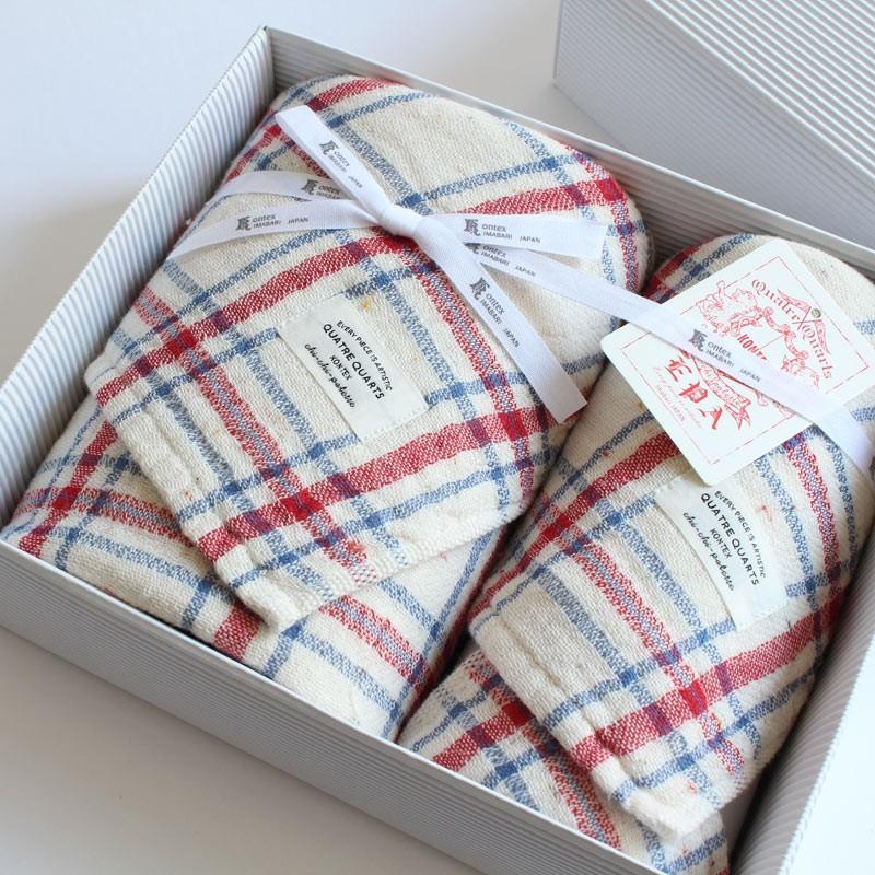 今治タオル コンテックス キャトルカール ギフトセット Imabari Towel Kontex Quatre Quarls GiftSet フェイスタオル1枚xゲストタオル1枚 tanokichi
