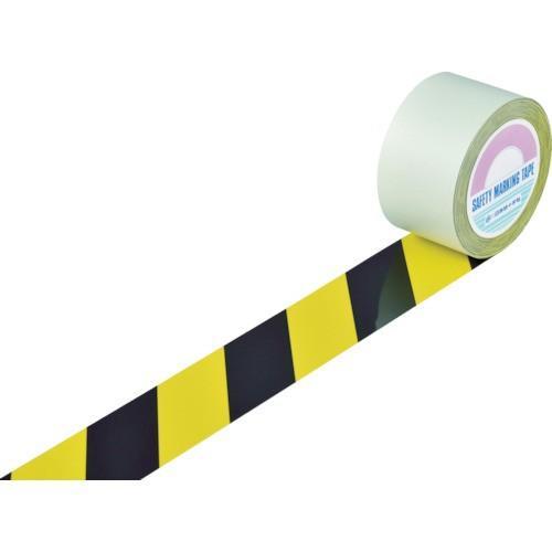 日本緑十字社 ガードテープ(ラインテープ) 黄/黒(トラ柄) 75mm幅×20m 148122 1巻 (お取寄せ品)