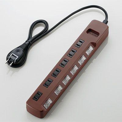 エレコム T-BR04-2610BR 延長コード 電源タップ 1m 6個口 雷ガード機能付 個別スイッチ付 スイングプラグ ブラウン|tantan
