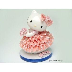 ds-1830927 HeLLo Kitty ハローキティ レースドール/陶製人形 【ピンク】 磁器 高さ14×ベース径11cm 日本製 (ds1830927)