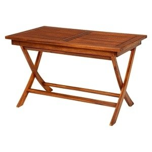 ds-1831869 木製ガーデンテーブル/アウトドアテーブル 【長方形/幅120cm】 折りたたみ式 チーク材使用 パラソル穴付き 木目調 (ds1831869)