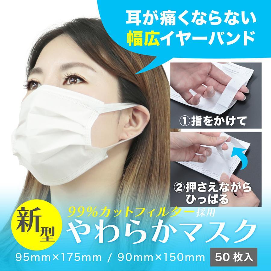 【11/26までの限定価格】耳が痛くならない マスク 50枚 白 大人用 ふつうサイズ 不織布マスク 使い捨て ウイルス 花粉 災害 99%カット やわらか 幅広 送料無料 tantobazarshop