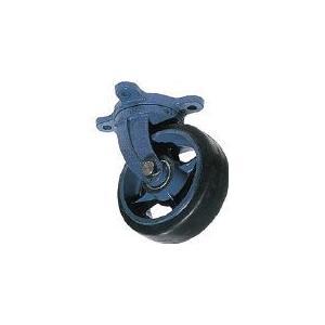 京町 鋳物製自在金具付ゴム車輪(幅広) 京町産業車輌(株) (AHJ-200X75) (458-3574)