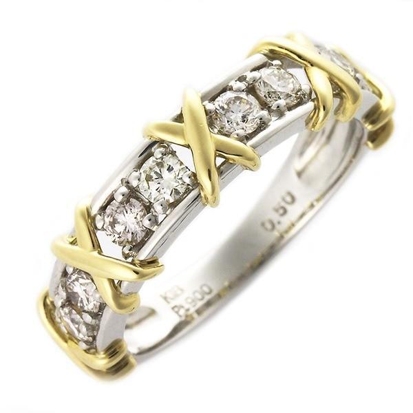 有名なブランド ダイヤモンド リング 0.5ct ハーフエタニティ プラチナPt900 K18イエローゴールド コンビ ダイヤ合計8石 指輪 UGL鑑別カード付き サイズ#17 17号, 美品  2fbee259