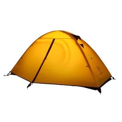 テントヒルマン超軽量アルミポール二重層屋外山のキャンプのテント、一人抗嵐高品質のテント yellow