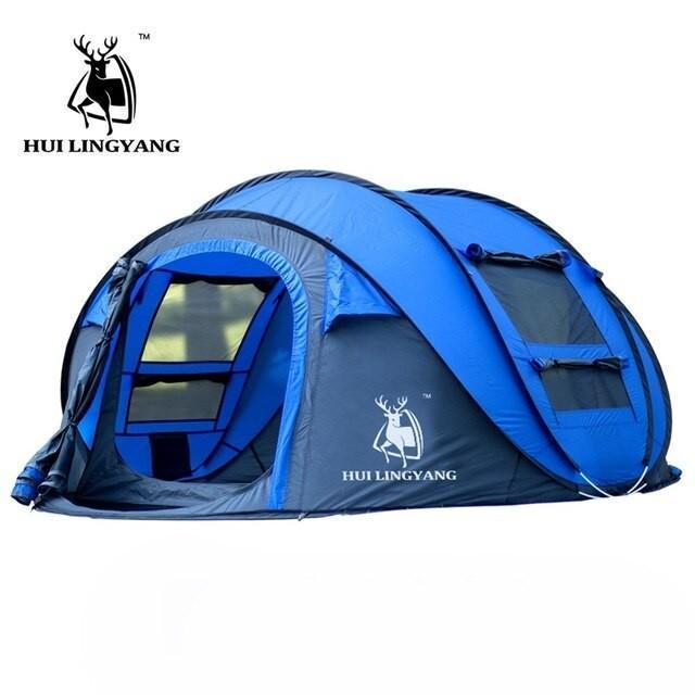 テントHLY 大スローテント! 屋外 3-4persons 自動速度オープンポップアップ投げる防風防水ビーチキャンプテント大空間 blue