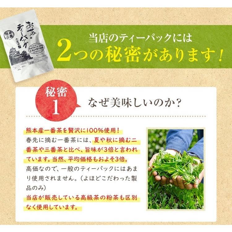 ティーパック お茶 ティーバッグ 緑茶 2.5g×100個 熊本産一番茶100% 水出し お湯だしOK|tea-sanrokuen|02