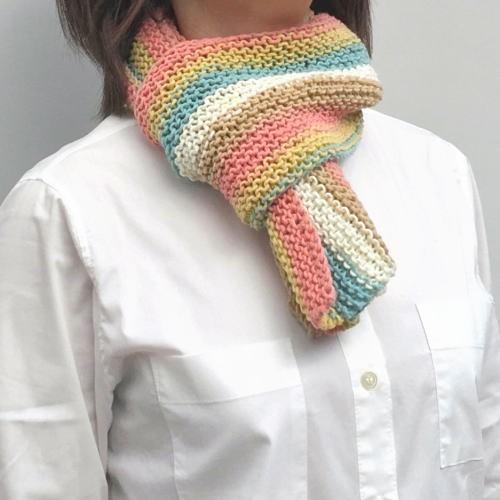 キャロンコットンケークスで編む1玉で完成のガーター編みショール 手編みキット 編み図 ダルマ|teamiohenya|03