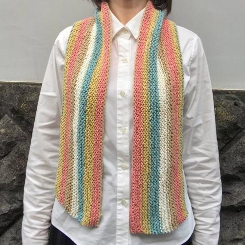 キャロンコットンケークスで編む1玉で完成のガーター編みショール 手編みキット 編み図 ダルマ|teamiohenya|05