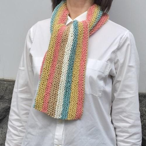 キャロンコットンケークスで編む1玉で完成のガーター編みショール 手編みキット 編み図 ダルマ|teamiohenya|06