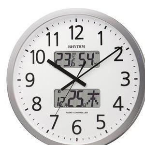 【3セット】 リズム時計 電波掛け時計 シルバーメタリック(白) 4FN403SR19 [4FN403SR19] …[10000円アマゾンギフト付]