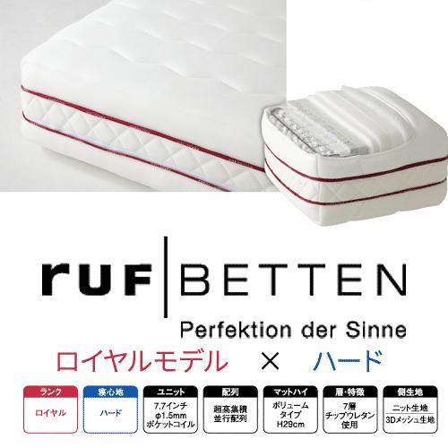 RUF マットレス FHC-RY ロイヤルモデル ハードコンフォートシステム7.7インチ SK セミキング(2枚もの) ルフ ドイツドリームベッド