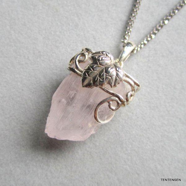クンツァイト結晶原石シルバーペンダント|ten-ten-sen