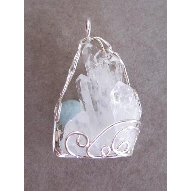 水晶クラスター&アクアマリン シルバーペンダント ten-ten-sen
