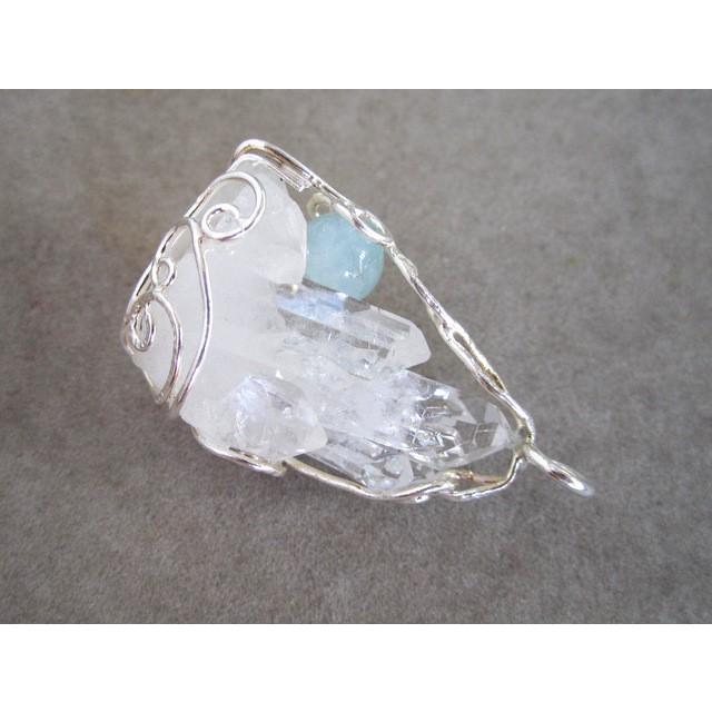 水晶クラスター&アクアマリン シルバーペンダント ten-ten-sen 02