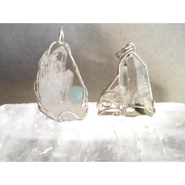 水晶クラスター&アクアマリン シルバーペンダント ten-ten-sen 04