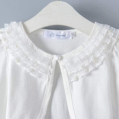 キッズ ボレロ 長袖 フォーマル 女の子ポンチョ 薄手 発表会 入園式 結婚式 (ホワイト 120)|tenbin-do|04