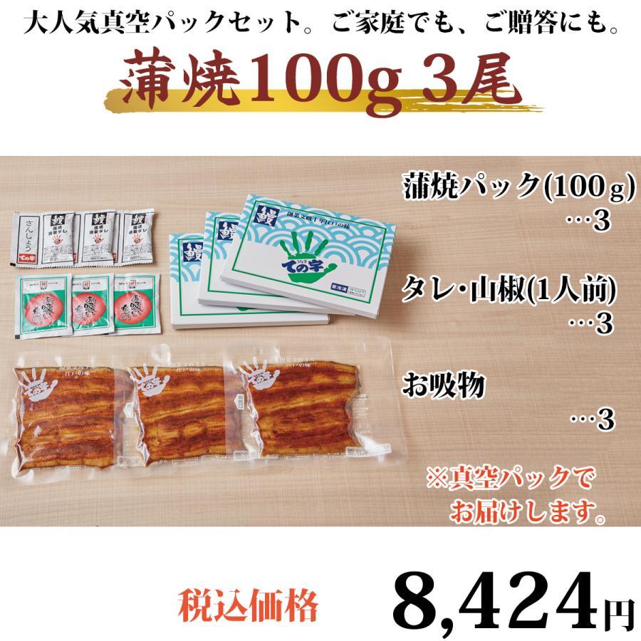 うなぎ 鰻 国産 蒲焼 ギフト プレゼント 100g×3セット ての字 化粧箱入り|tenoji|02