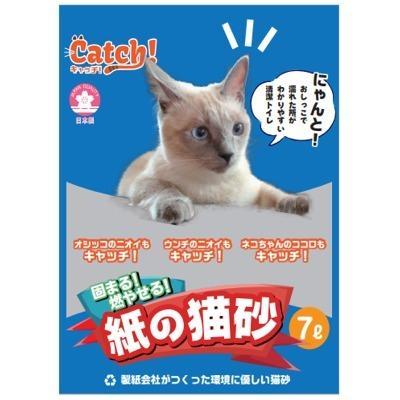 特売 イデ紙業 Catch! 固まる! 燃やせる! 紙の猫砂7L 猫用 トイレ砂 紙製 消臭 国産|tepec