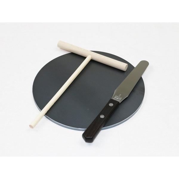 プロ仕様 クレープ 鉄板 今日から我が家もクレープ屋さん! クレープメーカー クレープ焼き器 サイズ200 板厚6.0mm ミニトンボ・スパチュラ付き|teppan-hiroba|02