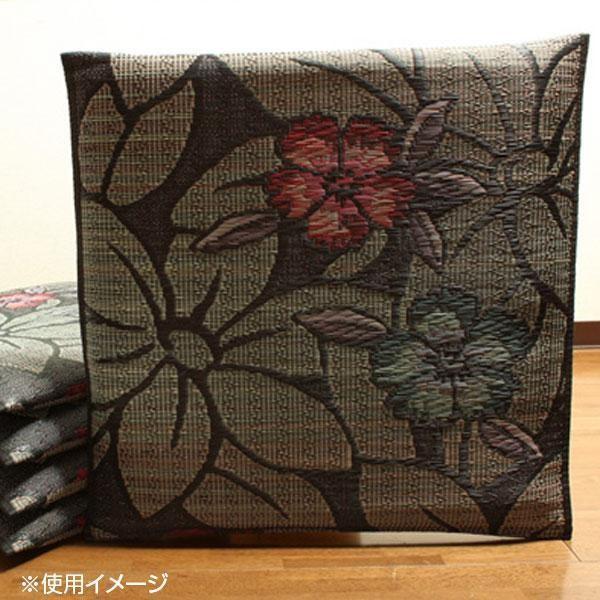 同梱・代引不可純国産 袋織 織込千鳥 い草座布団 『なでしこ 5枚組』 ブルー 約55×55cm×5P 3127600