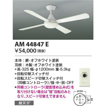 シーリングファンR-シリーズφ1200mmシーリングファン[灯具なし][コントローラー付]AM44847E
