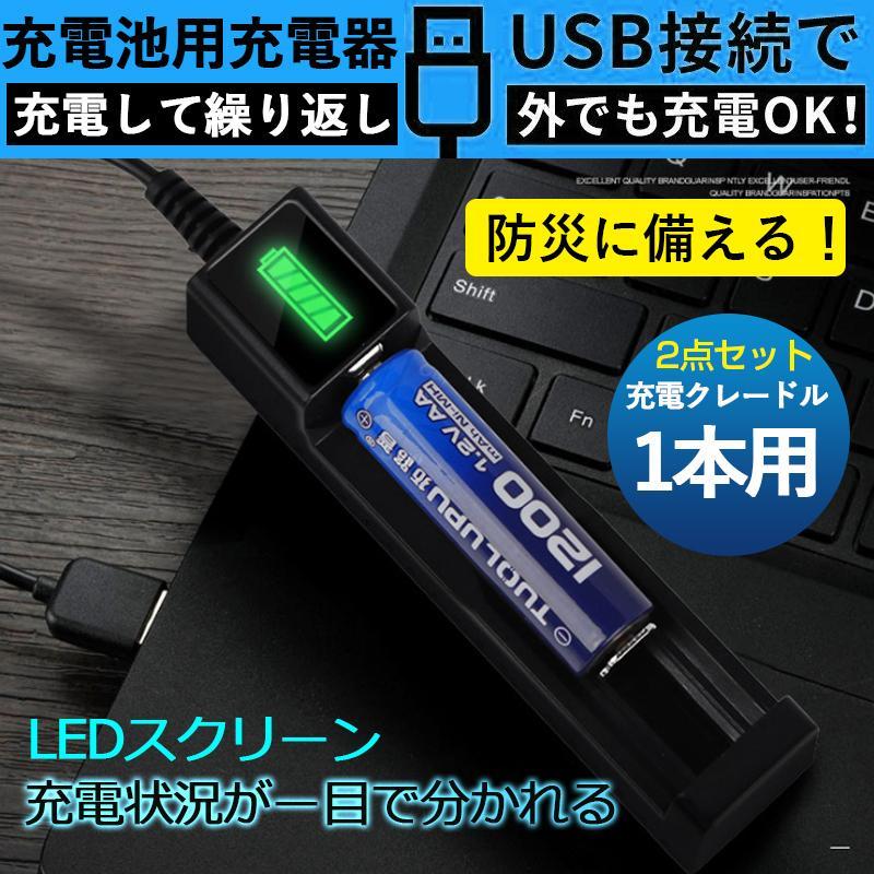 バッテリー 電池充電器 10440 14500 商品 16340 16650 14650 18350 2点セット 18500 18650 リチウムイオンバッテリー 新作からSALEアイテム等お得な商品満載 急速充電器 LCD USB充電器
