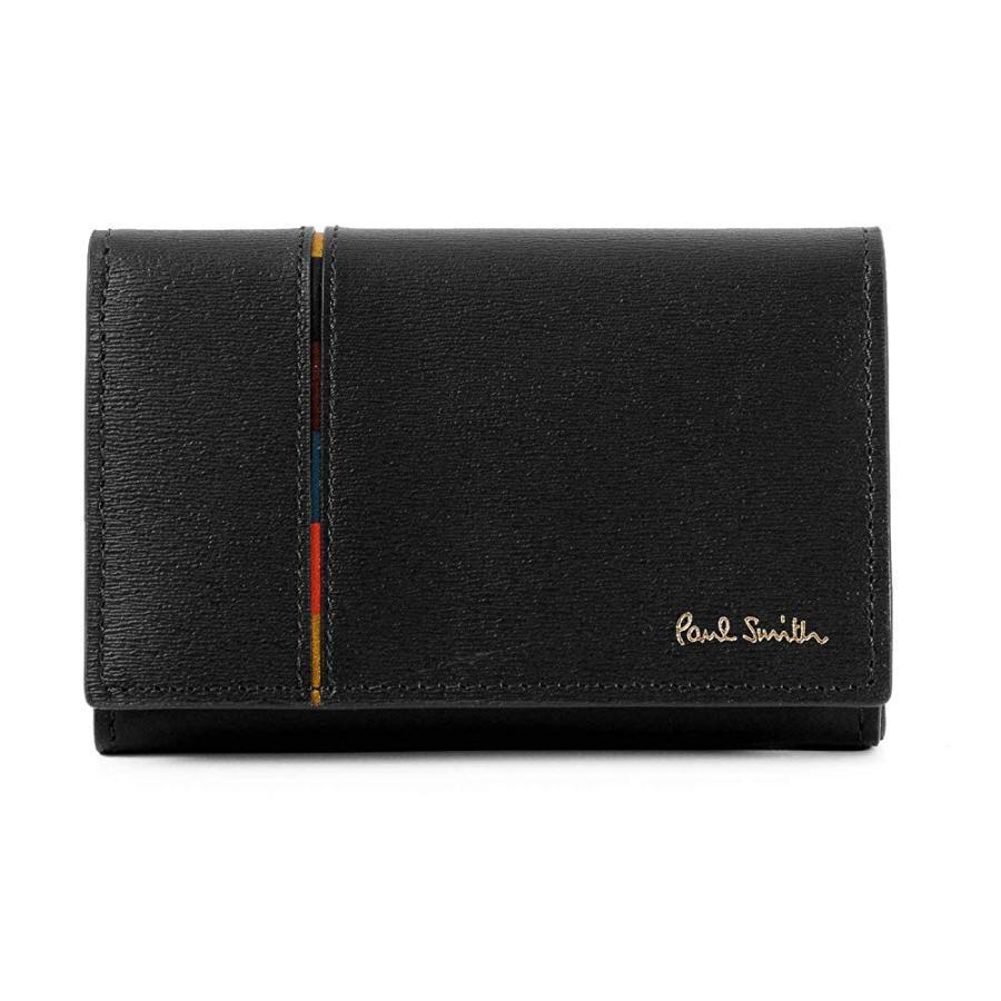 (ポールスミス) Paul Smith 正規品 カードケース インセットストライプ 牛革 レザー 名刺入れ ショップバッグ付 (名入れなし, ブラック) the-general-store