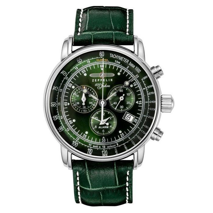 ツェッペリン LZ1 100周年記念 8680-4 メンズ 腕時計 クオーツ グリーン 革ベルト クロノグラフ アラーム theclockhouse-y 02