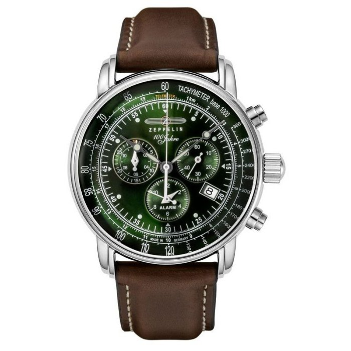 ツェッペリン LZ1 100周年記念 8680-4 メンズ 腕時計 クオーツ グリーン 革ベルト クロノグラフ アラーム theclockhouse-y 03