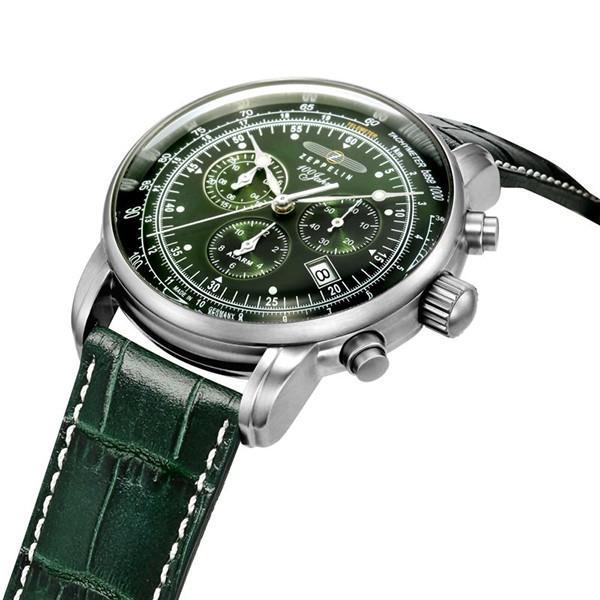 ツェッペリン LZ1 100周年記念 8680-4 メンズ 腕時計 クオーツ グリーン 革ベルト クロノグラフ アラーム theclockhouse-y 04