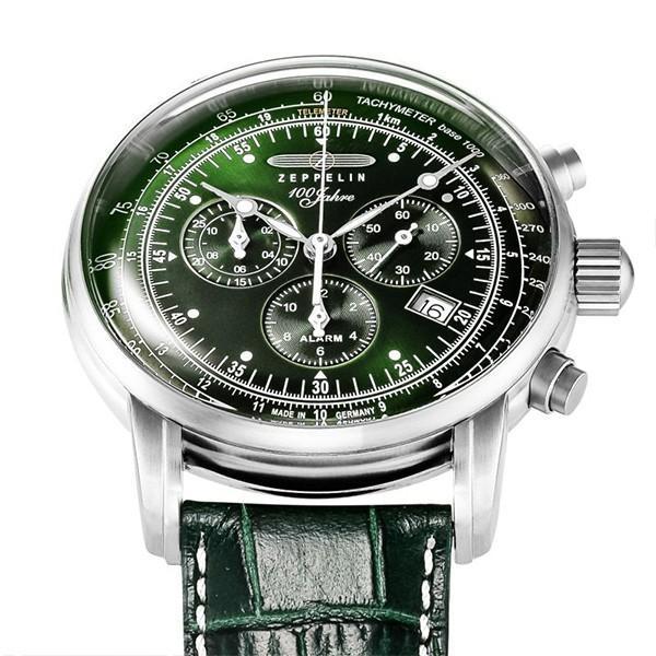 ツェッペリン LZ1 100周年記念 8680-4 メンズ 腕時計 クオーツ グリーン 革ベルト クロノグラフ アラーム theclockhouse-y 05