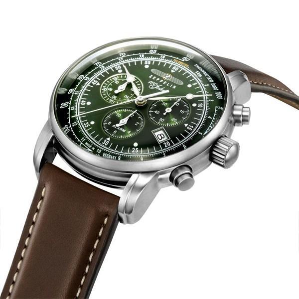 ツェッペリン LZ1 100周年記念 8680-4 メンズ 腕時計 クオーツ グリーン 革ベルト クロノグラフ アラーム theclockhouse-y 07