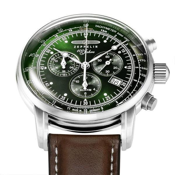 ツェッペリン LZ1 100周年記念 8680-4 メンズ 腕時計 クオーツ グリーン 革ベルト クロノグラフ アラーム theclockhouse-y 08