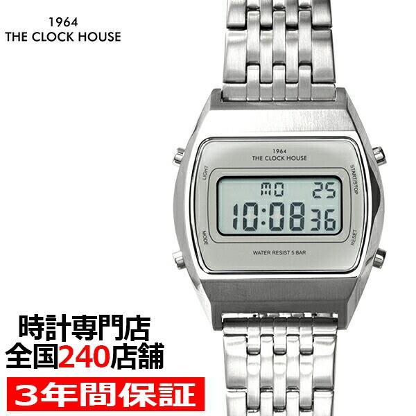 ザ・クロックハウス タウンカジュアル メタル デジタル ユニセックス 腕時計 トノー グレー シルバー レトロモダン 防水 MTC7003-GY1A|theclockhouse-y