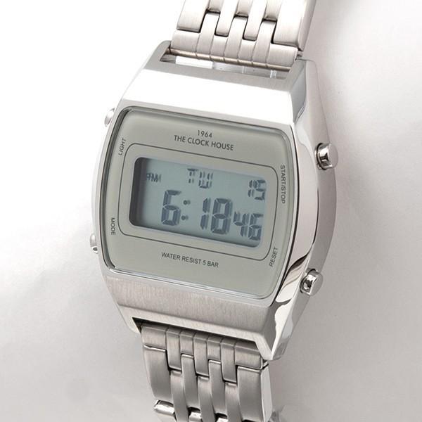 ザ・クロックハウス タウンカジュアル メタル デジタル ユニセックス 腕時計 トノー グレー シルバー レトロモダン 防水 MTC7003-GY1A|theclockhouse-y|03
