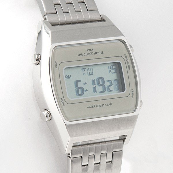 ザ・クロックハウス タウンカジュアル メタル デジタル ユニセックス 腕時計 トノー グレー シルバー レトロモダン 防水 MTC7003-GY1A|theclockhouse-y|04