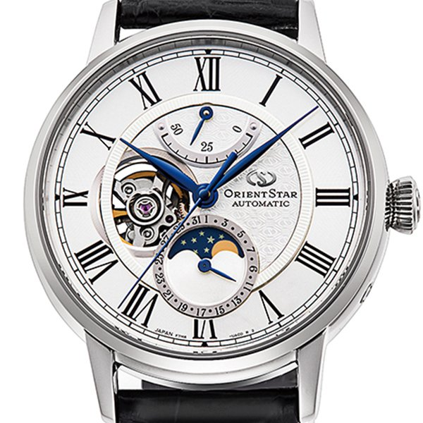 オリエントスター メカニカルムーンフェイズ RK-AY0101S メンズ 腕時計 機械式 自動巻き レザーバンド オープンハート ホワイト ブラック theclockhouse-y 03