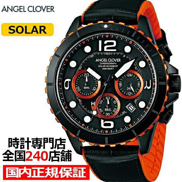 エンジェルクローバー タイムクラフトダイバー TCD45BK-BK メンズ 腕時計 ソーラー 革ベルト クロノグラフ ブラック theclockhouse-y