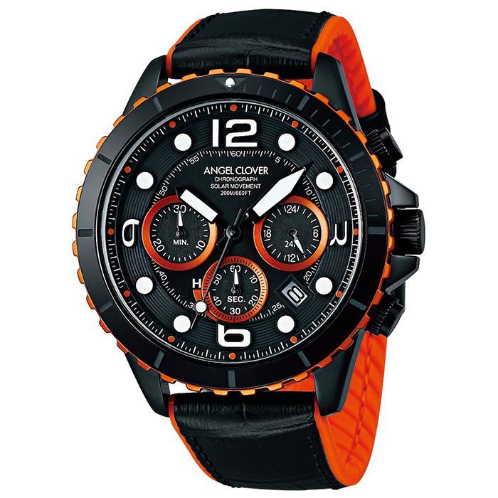 エンジェルクローバー タイムクラフトダイバー TCD45BK-BK メンズ 腕時計 ソーラー 革ベルト クロノグラフ ブラック theclockhouse-y 02