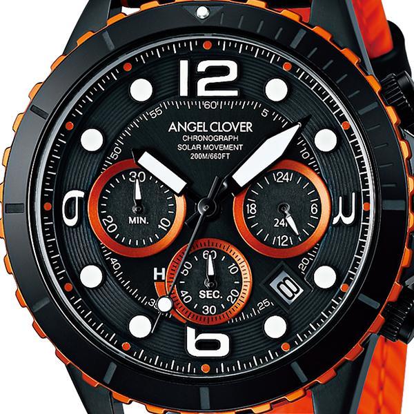 エンジェルクローバー タイムクラフトダイバー TCD45BK-BK メンズ 腕時計 ソーラー 革ベルト クロノグラフ ブラック theclockhouse-y 03