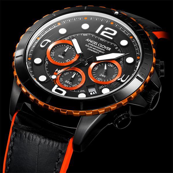 エンジェルクローバー タイムクラフトダイバー TCD45BK-BK メンズ 腕時計 ソーラー 革ベルト クロノグラフ ブラック theclockhouse-y 06