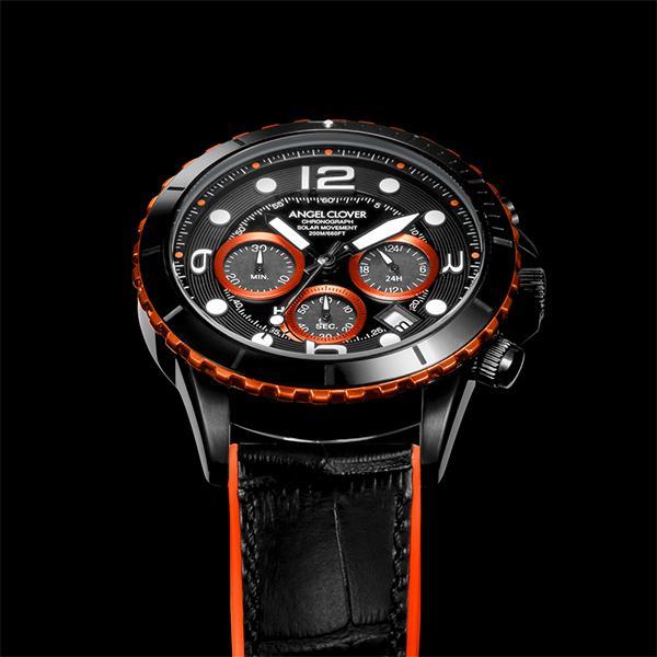 エンジェルクローバー タイムクラフトダイバー TCD45BK-BK メンズ 腕時計 ソーラー 革ベルト クロノグラフ ブラック theclockhouse-y 07
