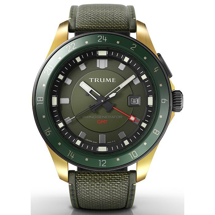 TRUME トゥルーム Lコレクション ブレークライン TR-ME2001 メンズ 腕時計 自動巻発電 GMT セラミックベゼル ナイロンバンド グリーン theclockhouse-y 02