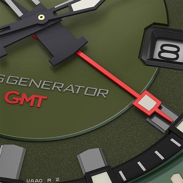 TRUME トゥルーム Lコレクション ブレークライン TR-ME2001 メンズ 腕時計 自動巻発電 GMT セラミックベゼル ナイロンバンド グリーン theclockhouse-y 05