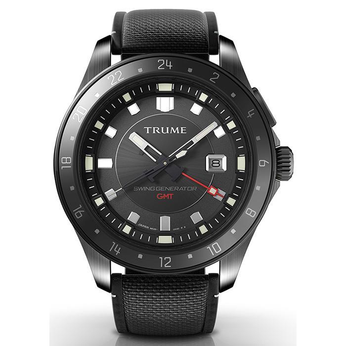 TRUME トゥルーム Lコレクション ブレークライン TR-ME2002 メンズ 腕時計 自動巻発電 GMT セラミックベゼル ナイロンバンド ブラック|theclockhouse-y|02