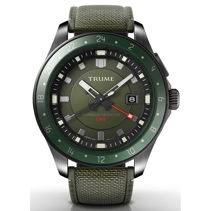 TRUME トゥルーム Lコレクション ブレークライン TR-ME2003 メンズ 腕時計 自動巻発電 GMT セラミックベゼル ナイロンバンド グリーン|theclockhouse-y|02