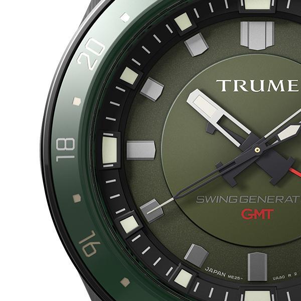 TRUME トゥルーム Lコレクション ブレークライン TR-ME2003 メンズ 腕時計 自動巻発電 GMT セラミックベゼル ナイロンバンド グリーン|theclockhouse-y|04
