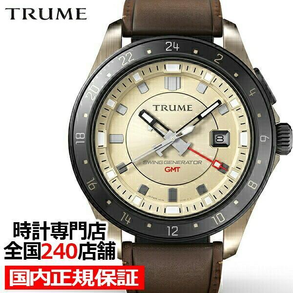 TRUME トゥルーム Lコレクション ブレークライン TR-ME2004 メンズ 腕時計 自動巻発電 GMT セラミックベゼル レザーバンド ブラウン|theclockhouse-y