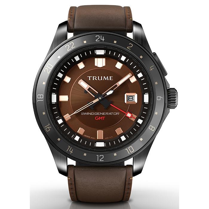 TRUME トゥルーム Lコレクション ブレークライン TR-ME2005 メンズ 腕時計 自動巻発電 GMT セラミックベゼル レザーバンド ブラウン エプソン|theclockhouse-y|02